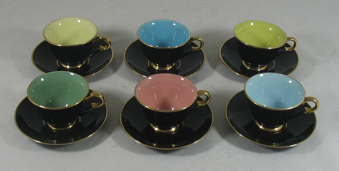 vintage-set-6-stavangerflint-norway-harlequin-black-gilt-coffee-cups-and-saucers-1950-s-315-p